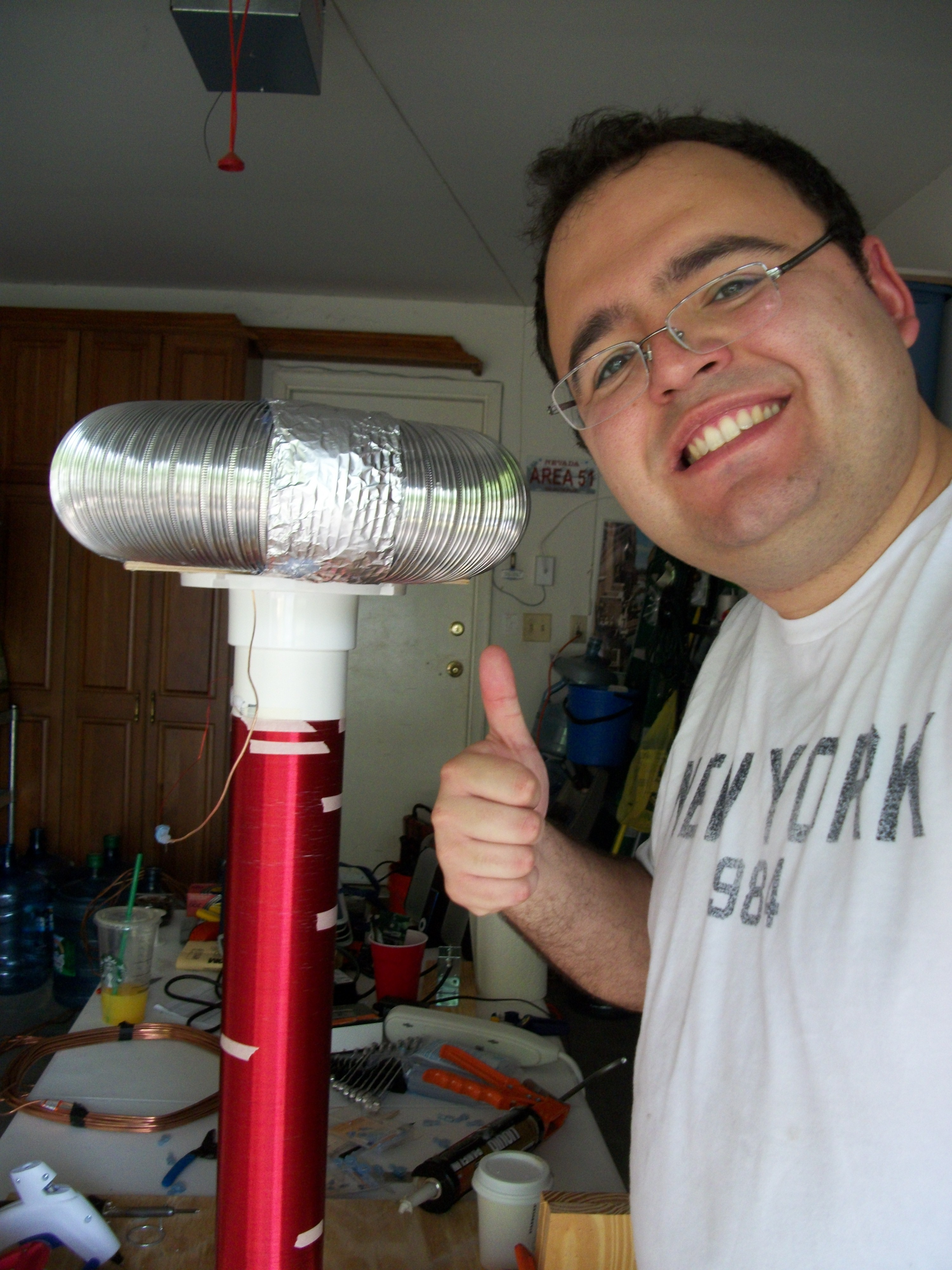"""Robert and his """"Thunderbolt"""" Tesla Coil"""